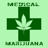Os cannabis folheiam no estilo abstrato com cruz verde e marijuana médica das palavras Fotos de Stock Royalty Free