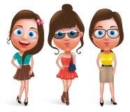 Os caráteres adolescentes do vetor do modelo da menina da forma ajustaram o vestido à moda vestindo Fotos de Stock