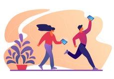 Os caráteres andam em patins de rolo com Smartphones ilustração royalty free