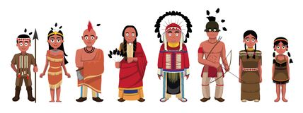 Os caráteres da família dos indianos do nativo americano ajustaram a ilustração do vetor dos desenhos animados ilustração stock