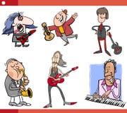 Os caráteres dos músicos ajustaram desenhos animados Imagens de Stock Royalty Free
