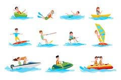 Os caráteres fazem as ilustrações do esporte de água do verão ajustadas ilustração do vetor