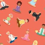 Os caráteres saudáveis do estilo de vida das profissões diferentes do procedimento do abrandamento dos povos da ioga da meditação Fotos de Stock Royalty Free