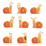 Os caracóis engraçados dos desenhos animados que mostram emoções diferentes ajustaram-se, ilustrações cômicas bonitos do vetor do Imagem de Stock
