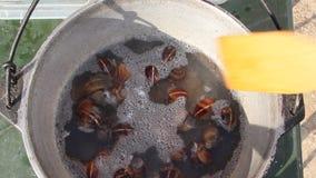 Os caracóis são cozinhados em um potenciômetro filme
