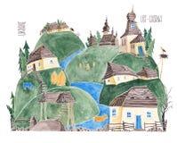 Os Carpathians ucranianos watercolor fotos de stock royalty free