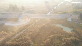 Os carros conduzem na estrada no amanhecer video estoque