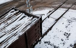 Os carros de estrada de ferro carregados com a floresta, o trem transportam árvores Muitos carros diferentes imagens de stock
