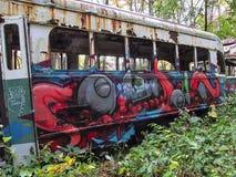 Os carros de trole abandonados tomam partido na vista das janelas quebradas Fotos de Stock