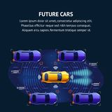 Os carros futuros traficam o sistema Bandeira da ilustração ilustração stock
