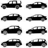 Os carros mostram em silhueta o grupo Fotos de Stock Royalty Free