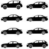 Os carros mostram em silhueta o jogo Fotos de Stock Royalty Free