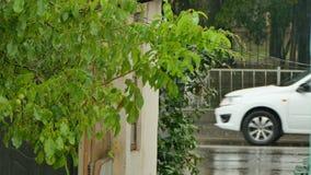 Os carros movem-se em um córrego durante uma chuva video estoque