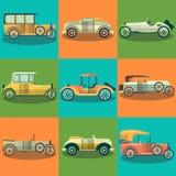 Os carros retros e os automóveis do coletor vector o grupo do plano Fotografia de Stock