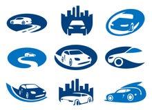 Os carros simbolizam e os moldes do logotipo Imagens de Stock