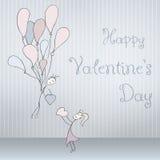 Os cartões abstratos com a mão tirada emparelham-se com os balões, fonte do garrancho, dobrada Rosa vermelha Imagem de Stock