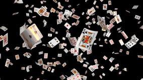 Os cartões de queda do pôquer todos os ternos dão laços ilustração royalty free