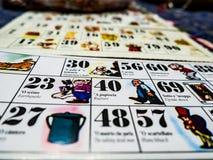 Os cartões do bingo napolitana imagens de stock
