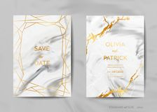 Os cartões do convite do casamento, salvar a data com fundo de mármore na moda da textura e projeto geométrico do quadro do ouro ilustração royalty free