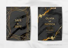 Os cartões do convite do casamento, salvar a data com fundo de mármore na moda da textura e projeto geométrico do quadro do ouro ilustração do vetor