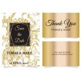 Os cartões do molde do convite do casamento no ouro marmoreiam o fundo ilustração royalty free