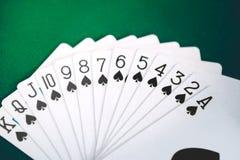 Os cartões do pôquer fecham-se acima Foto de Stock