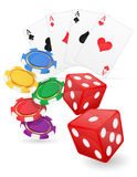 Os cartões dos artigos do casino ace e as microplaquetas cortam a ilustração do vetor Fotografia de Stock Royalty Free