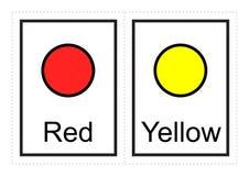 Os cartões flash da cor para crianças aprendem sobre cores e seus nomes com este imprimível simples ilustração do vetor