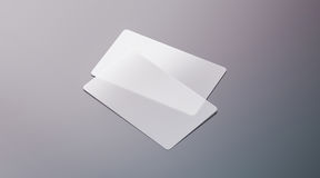 Os cartões transparentes plásticos vazios zombam acima Imagem de Stock