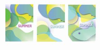 os cartazes do carnaval do festival, inseto, grupo da tampa do folheto, linhas vibrantes minimalistas dinâmicas abstratas verão f Imagens de Stock
