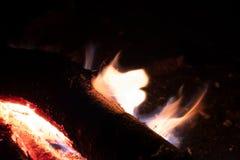 Os carvões ateiam fogo na noite imagem de stock royalty free
