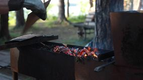 Os carvões de queimadura tomam parte num piquenique filme