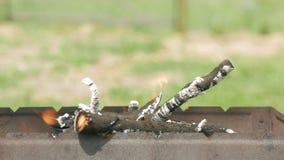 Os carvões para o assado são calorosos em um recipiente do metal Cozinhando o alimento na rua no verão vídeos de arquivo