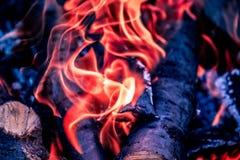 Os carvões quentes brilhantes e as madeiras ardentes na grade do BBQ pit Incandescência e carvão vegetal flamejante, assado, fogo imagem de stock