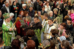 Os católicos comemoram a palma domingo Fotos de Stock Royalty Free