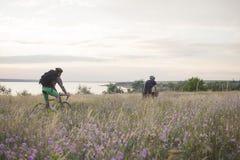Os cavaleiros da bicicleta montam fora nos campos perto do lago imagem de stock