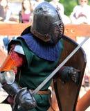 Os cavaleiros medievais na batalha Fotografia de Stock Royalty Free