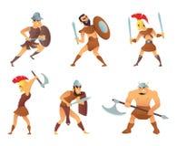 Os cavaleiros ou os gladiadores de Roma na ação diferente levantam ilustração stock