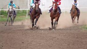 Os cavalos com os jóqueis na pista