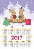 Os cervos calendar 2017 Imagens de Stock Royalty Free