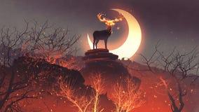 Os cervos do inferno na floresta do fogo ilustração royalty free