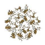 Os cervos do Natal de ano novo são colocados em uma forma do círculo Cartão de Natal bonito O arquivo ilustração do vetor