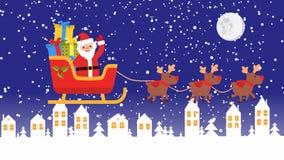 Os cervos são trazidos Santa Claus em um trenó com presentes footage ilustração do vetor