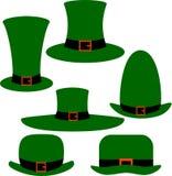 Os chapéus verdes do duende para a decoração ilustração stock