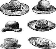 Os chapéus das mulheres ilustração do vetor