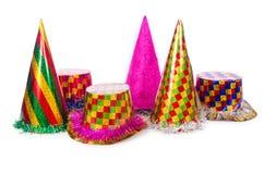 Os chapéus do partido isolados no fundo branco Fotos de Stock Royalty Free