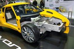 Os chassis do corpo e o quadro de Lotus ÉVORA em Tailândia viajam de automóvel a expo 2013 Fotos de Stock