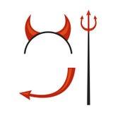 Os chifres dos diabos dirigem a engrenagem com tridente e cauda Fotos de Stock Royalty Free