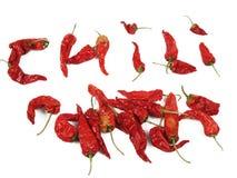 Os chilis vermelhos secados, alguns arranjaram para soletrar para fora o pimentão Foto de Stock Royalty Free