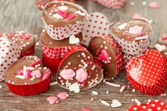 Os chocolates caseiros com polvilham Fotos de Stock